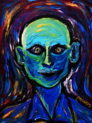 The Blue Face Paintings - Last Smile Portrait Of A Man by Pristine Cartera Turkus
