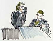 Lawyer Drawings - Lawyer and Witness by Armand Roy