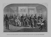 Union Commanders Prints - Lee Surrendering To Grant At Appomattox Print by War Is Hell Store