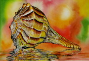 Sea Shell Painting Prints - Life Lines Print by Maria Barry