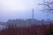 Pond In Park Prints - Lighthouse in Fog Print by Tom Singleton