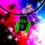 Old Jewelry Originals - Lil Cthulhu Lovecraft Alien Cartoon Necklace Awake by Pet Serrano