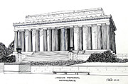 Washington Dc Drawings - Lincoln Memorial  by Frederic Kohli