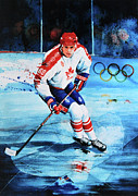 Hockey Painting Framed Prints - Lindros Framed Print by Hanne Lore Koehler
