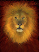 Lions And Lambs Art - Lion Of Judah Firey Eyes by Constance Woods