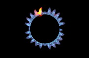 Igniting Prints - Lit blue gas stove burner Print by Sami Sarkis