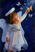 Original Oil  Doug Kreuger Paintings - Little Angel by Doug Kreuger
