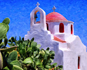 Orthodox Painting Framed Prints - Little Chapel on Mykonos Framed Print by Dominic Piperata