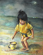 Portraits - Little Chinese Girl on The Beach by Miki De Goodaboom