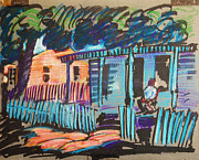Log Cabin Pastels Prints - Little Porch House Print by Bill Joseph  Markowski