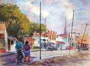 City Streets Pastels Prints - Little Pueblo Print by Bill Joseph  Markowski