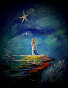 Constellations Painting Prints - Little Wishes One Print by Leslie Allen