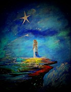Constellations Painting Prints - Little Wishes Too Print by Leslie Allen
