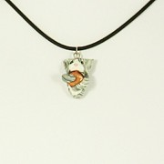 Hug Jewelry - LOLcat Stealing Cheeseburger Silver Tuxedo Cat Necklace by Pet Serrano