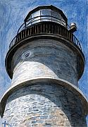 New England Lighthouse Painting Prints - Looking Up Portland Head Light Print by Dominic White