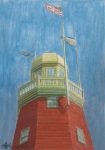 New England Lighthouse Painting Prints - Looking Up Portland Observatory Print by Dominic White