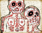 Paint Drawings - LOS MUERTOS Fine Art Illustration by Roly O by Roly D Orihuela