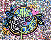 Psychedelic Zebra Drawings Prints - Love and Peace Print by Jo Claire Hall