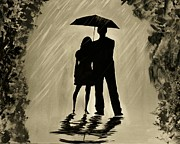 Couple In Arms Posters - Love In the Rain D Poster by Leslie Allen