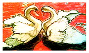 Swans... Pastels Prints - Love Is Action Print by D Renee Wilson