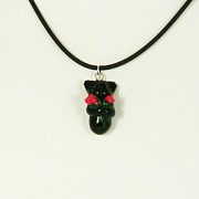 Holiday Jewelry - Lovely Black Kitty Hugging Roses Valentine Gift Necklace by Pet Serrano