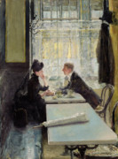 Pleading Framed Prints - Lovers in a Cafe Framed Print by Gotthardt Johann Kuehl