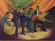 Band Painting Originals - Ma Raineys Blues Band by Helen Thomas