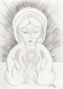John Keaton Drawings - Madonna and Child by John Keaton
