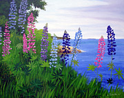 Maine Coast Posters - Maine Bay Lupine Flowers Poster by Laura Tasheiko