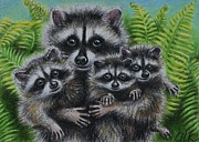 Raccoon Drawings - Mama Raccoon and her three little bandits by Christine Karron