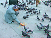 Statue Portrait Digital Art - Man Feeding Pigeons in Taksim Square in Istanbul Turkey by Ruth Hager