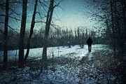 Secretive Posters - Man walking in snow at winter twilight Poster by Sandra Cunningham