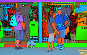 Dog Walking Digital Art Posters - Man With Dog Poster by Richard Ortolano