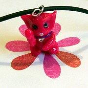 Kitty Jewelry - Maneki Neko Lucky Beckoning Cat Necklace in Hot Pink by Pet Serrano