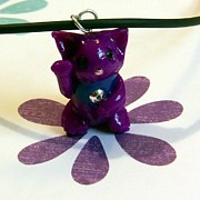 Kitty Jewelry - Maneki Neko Lucky Beckoning Cat Necklace in Violet Purple by Pet Serrano