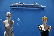 Costume Shop Framed Prints - Mannequin dolls in Santorini island Framed Print by George Atsametakis