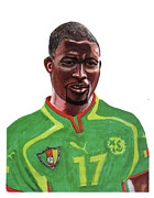 League Drawings Acrylic Prints - Marc Vivien Foe Acrylic Print by Emmanuel Baliyanga