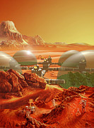 Science Fiction Painting Acrylic Prints - Mars Colony Acrylic Print by Don Dixon