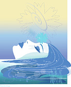 Profile Digital Art Prints - Meditation Print by Lisa Henderling