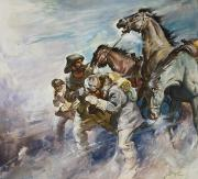 James Edwin McConnell - Men and Horses Battling a Storm