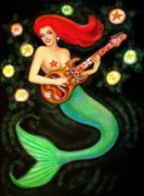 Mermaid Art Paintings - Mermaids Rock Tiki Guitar by Sue Halstenberg