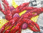 Louisiana Crawfish Posters - Mess of Bugs Poster by JoAnn Wheeler