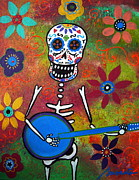 Original Paintings - Mexican Playing Banjo by Pristine Cartera Turkus