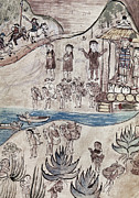 Early Drawings Prints - MEXICO INDIANS c1500 Print by Granger