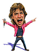 Caricatures Acrylic Prints - Mick Jagger Acrylic Print by Art