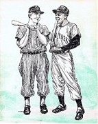 Baseball Drawings Posters - Mickey and Willie Poster by Mel Thompson