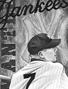 Baseball Portraits Drawings Posters - Mickey Mantle Poster by Scott  Hubbert