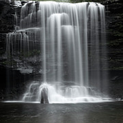Mountain Stream Photo Posters - Misty Canyon Waterfall Poster by John Stephens