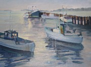 Boats In Water Paintings - Misty Harbor by D Marie LaMar