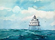 Cloudy Day Paintings - Mobile Middle Bay Light by Gary Partin